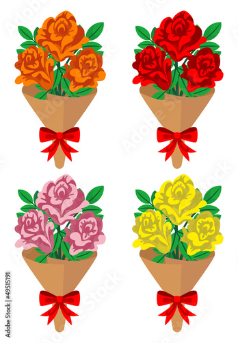 Rose bouquet -four colors