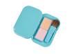Blue compact powder blush box with brush