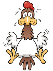 illustration of Cartoon Cock scared