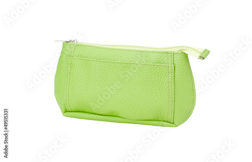 Green leather cosmetic bag isolated on white background.