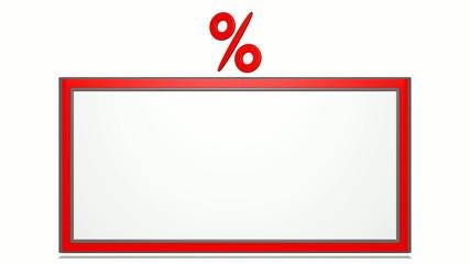 Werbung, drehendes Prozentzeichen - 3D Video
