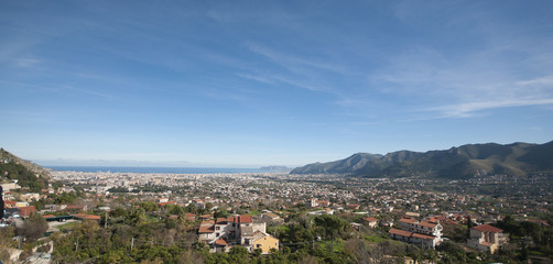Panoramic View of Palermo, in Sicily seen from Monreale.