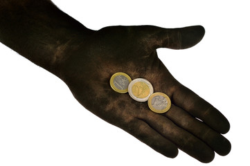Euro coins lying on dirty hand.