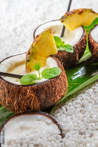 Pinacolada drink with fresh mint leaves - 49516138
