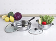 Set of stainless pot and pan with glass lids and vegetables