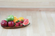 Empty background in kitchen with fruits tray