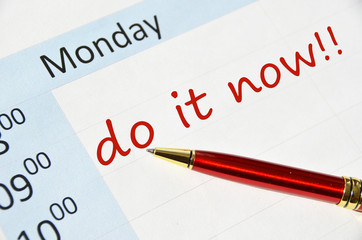Do it now note in the agenda
