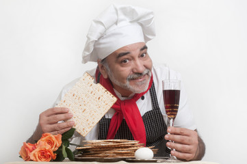 smiling cook with matzot
