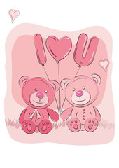 Pink cute bears holding balloons