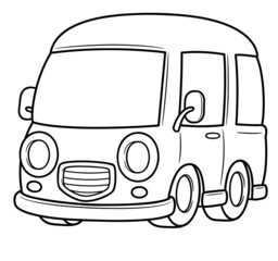 illustration of Van vector - Coloring book
