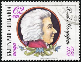 stamp printed in Bulgaria shows Wolfgang Amadeus Mozart