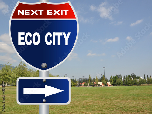 Eco city road sign