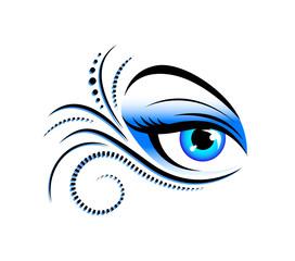 blue schnörkel eye