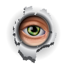 Interested Eye looking in hole, vector Eps10 illustration.