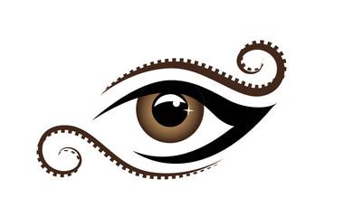 brown schnörkel eye