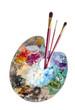 canvas print picture - Malpalette mit Pinseln
