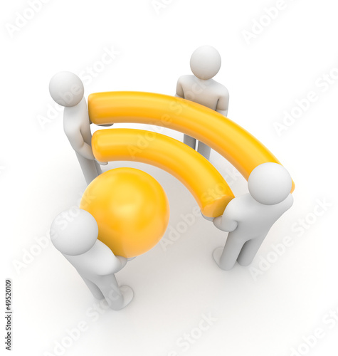People hold Wi-Fi or RSS symbol