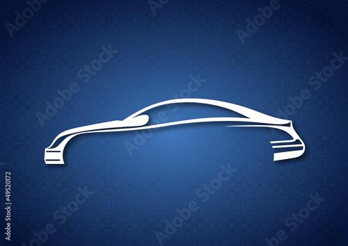 Mavi zeminde estetik araba logosu