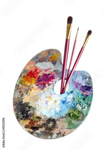 canvas print picture Malpalette mit Pinseln