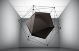 Fototapety Geometric composition from icosahedron in interior of a museum