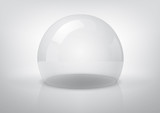 Vector transparent semi-sphere, specks of light and reflections