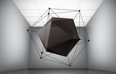 Geometric composition from icosahedron in interior of a museum