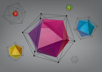 Geometric composition from icosahedrons for graphic design