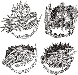 Decorative templates with dragon heads