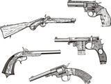 Set of old revolvers and pistols
