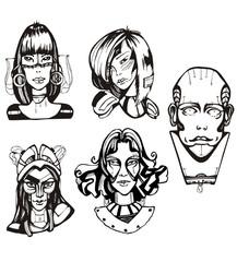 Heads of female cyborgs