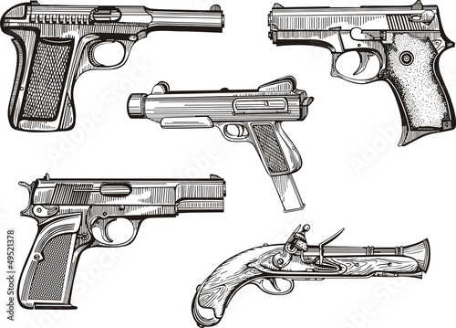 Set of old pistols