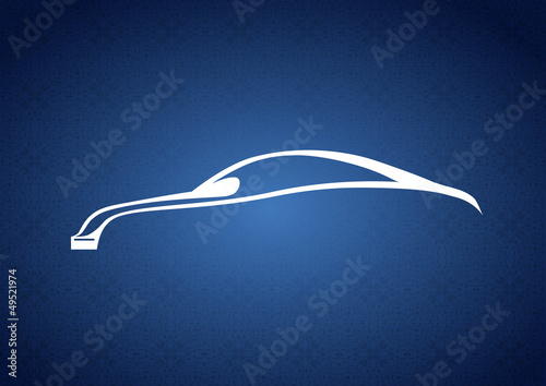 Mavi zeminde modern otomobil logosu