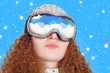 curly cute girl with glasses Snowboard