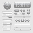 Light Web UI Elements Design Gray. Elements: Buttons, Switchers