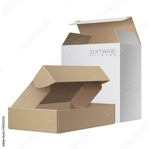 Two Package Box Opened. For Software, electronic device