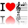 Herz mit Noten und Notenschlüssel