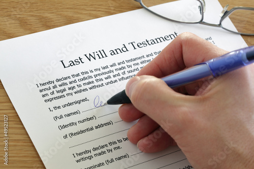 Signing Last Will and Testament - 49523127