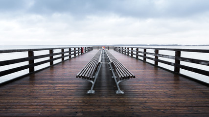 Wooden pier on the Baltic Sea, Travemuende, Germany