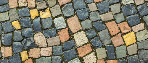 pattern of cobble stone at the sidewalk