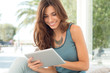 Smiling Woman With Digital Tablet