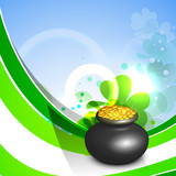 Green wave background with golden coins pot  for Happy St. Patri