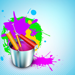 Vector illustration of Indian colorful festival Holi with bucket