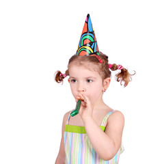 little girl with birthday hat and trumpet