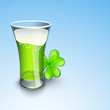 Saint Patrick's Day background or greeting card with beer glass