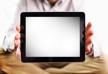 Men Showing Tablet