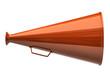 Orange megaphone icon on white background