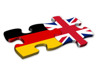 German & UK Flags (German English languages translation jigsaw)