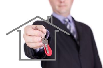 remise des clés par agent immobilier