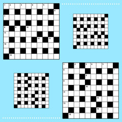 Real size crossword puzzle grids with corresponding answer grids