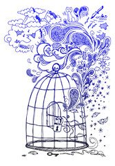 Freedom sketch doodles with an open cage